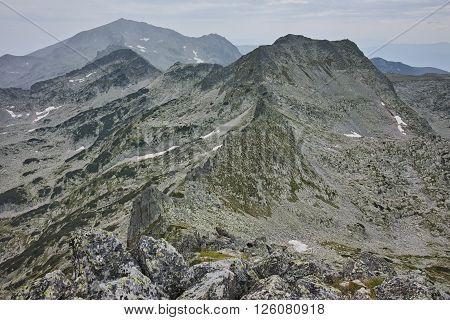 Amazing view to Momin Dvor peak from Dzhangal Peak, Pirin mountain, Bulgaria