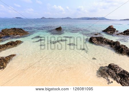 Sea Beach With The Rocks And Clear Water