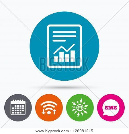 Wifi, Sms and calendar icons. Text file sign icon. Add File document with chart symbol. Accounting symbol. Go to web globe.