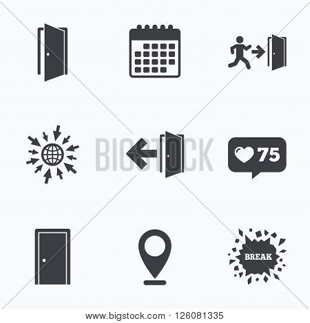 Calendar, like counter and go to web icons. Doors icons. Emergency exit with human figure and arrow symbols. Fire exit signs. Location pointer.