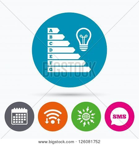 Wifi, Sms and calendar icons. Energy efficiency icon. Electricity consumption symbol. Idea lamp sign. Go to web globe.