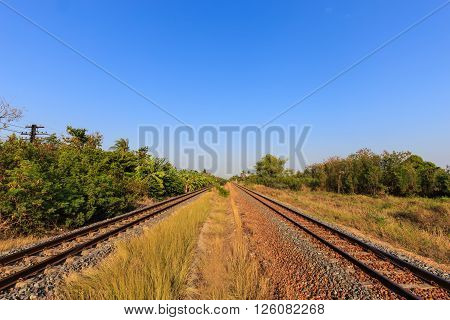 Railway tracks with blue sky in the eveningThailand