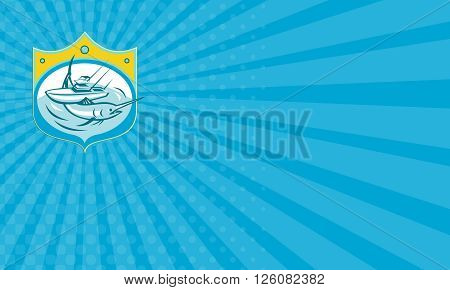 Business card showing illustration of a blue marlin and charter fishing boat in sea set inside shield crest done in retro style.