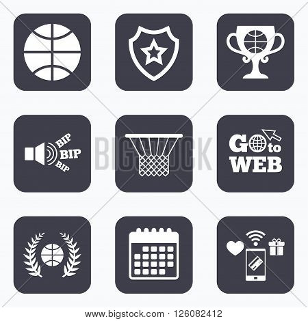 Mobile payments, wifi and calendar icons. Basketball sport icons. Ball with basket and award cup signs. Laurel wreath symbol. Go to web symbol.