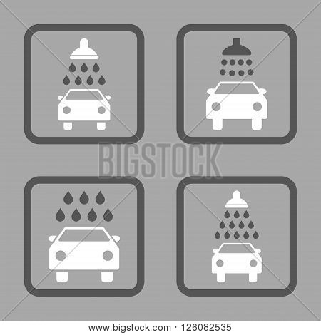 Carwash vector bicolor icon. Image style is a flat icon symbol inside a square rounded frame, dark gray and white colors, silver background.