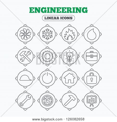 Linear icons with direction arrows. Engineering icons. Ventilation, heat and air conditioning symbols. Water supply, repair service and circuit board thin outline signs. Lamp, house and locker. Circle buttons.