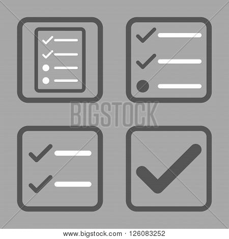 Valid vector bicolor icon. Image style is a flat icon symbol inside a square rounded frame, dark gray and white colors, silver background.