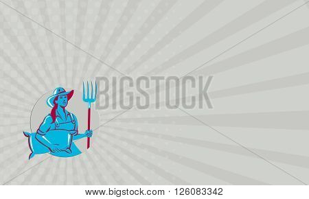 Business card showing illustration of a female organic farmer carrying sack and holding pitchfork with hat facing front set inside circle on isolated bakcground done in retro style.