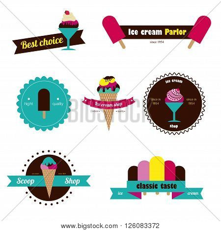 Set of badges ice cream. Different style. Colorfoul vector ice cream badges with text. Flat design