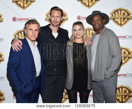 LOS ANGELES - APR 12:  Christoph Waltz, Alexander Skarsgard, Margot Robbie & Samuel Jackson arrives to CinemaCon 2016: Warner Bros