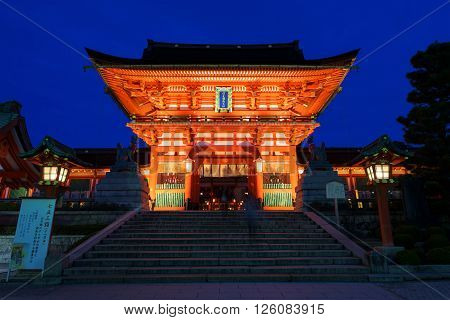 Fushimi Inari Shrine At Dusk In Kyoto