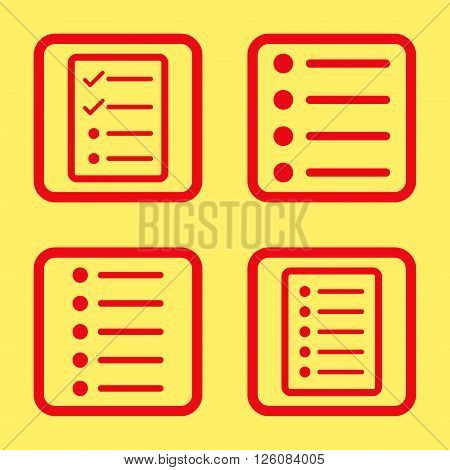 List Items vector icon. Image style is a flat icon symbol inside a square rounded frame, red color, yellow background.