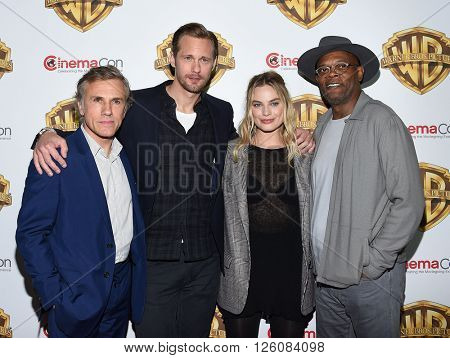 LOS ANGELES - APR 12:  Christoph Waltz, Alexander Skarsgard, Margot Robbie, Samuel L Jackson arrive CinemaCon 2016: Warner Bros