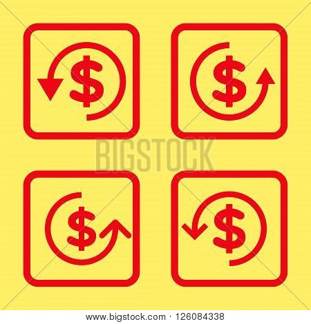 Refund vector icon. Image style is a flat icon symbol inside a square rounded frame, red color, yellow background.
