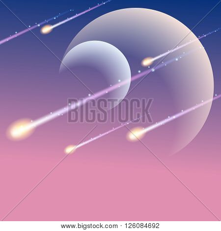 Futuristic space background with meteors. Graphics are grouped and in several layers for easy editing. The file can be scaled to any size.