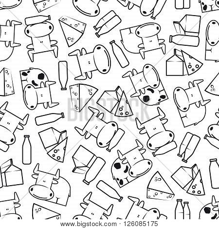 Farm fresh healthy dairy products seamless pattern of contoured cute spotted cows with bottles of milk, cream packs and slices of delicious cheese over white background. Agriculture, farming, kitchen interior accessories design usage