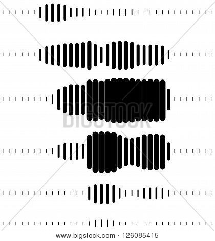 Abstract halftone soundwave design element isolated on white background