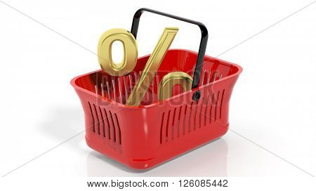 3D rendering of red shopping basket with golden percentage symbol, isolated on white.
