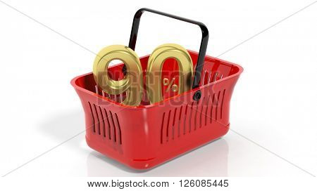 3D rendering of red shopping basket with golden 90% discount symbol, isolated on white.