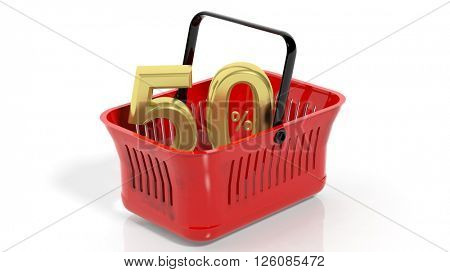 3D rendering of red shopping basket with golden 50% discount symbol, isolated on white.