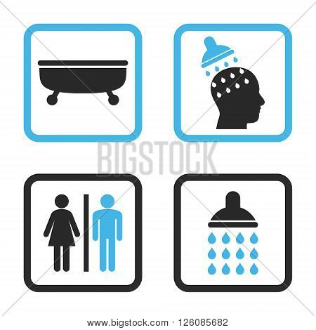 Sanitary vector bicolor icon. Image style is a flat icon symbol inside a square rounded frame, blue and gray colors, white background.