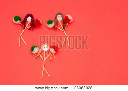 Cheerleader buttonhead stick figure girls green and red pompoms