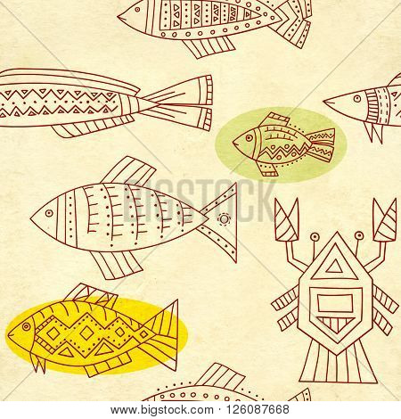 Seamless texture of old soiled paper and ethnicity patterns with fish and crab