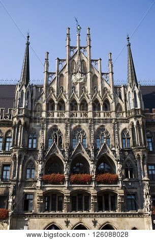 munchen city hall, Neues Rathaus, neo-Gothic style building, germany