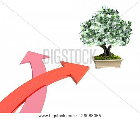 3d money tree euro banknotes and two bound arrows of red color, specifying different directions. Isolated on white background