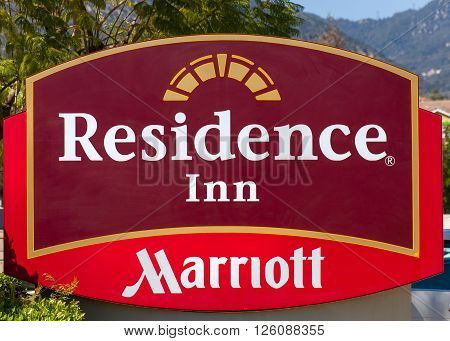 SANTA ANITA CA/USA - APRIL 16 2016: Residence Inn by Marriot sign and logo. Residence Inn by Marriott is a brand of extended stay hotels.