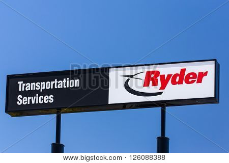 SANTA FE SPRINGS CA/USA - APRIL 16 2016: Ryder Corporation sign and logo. Ryder System Inc.is an American-based provider of transportation and supply chain management products.