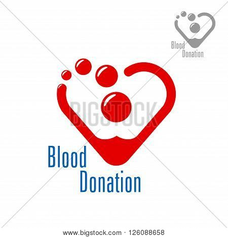 Bright red heart made of blood drops with caption Blood Donation. Medicine, life saving, charity, healthcare theme design