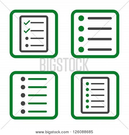 List Items vector bicolor icon. Image style is a flat icon symbol inside a square rounded frame, green and gray colors, white background.