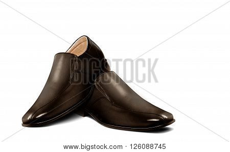 Men leather shoe in brown over white