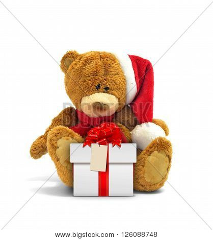 Teddy bear and gift box with red ribbon