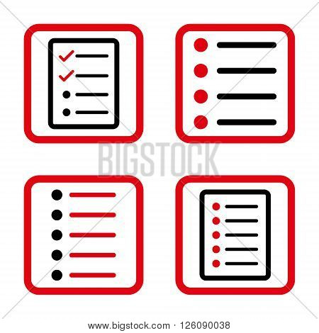 List Items vector bicolor icon. Image style is a flat icon symbol inside a square rounded frame, intensive red and black colors, white background.