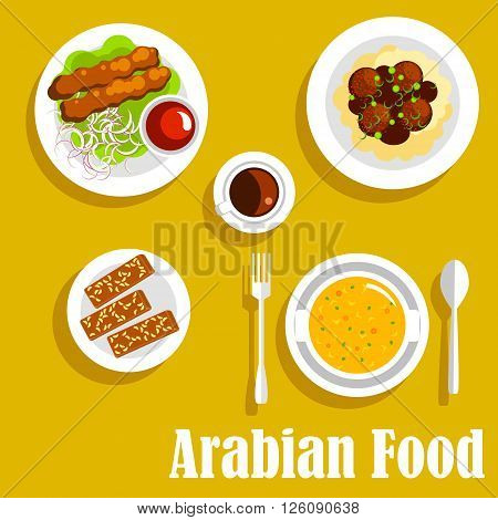 Authentic arabian cuisine dishes icon with flat symbols of kebab, served with spicy tomato sauce, creamy pea soup, mashed potato, topped with chickpea falafels and gravy, cup of coffee and halva with nuts