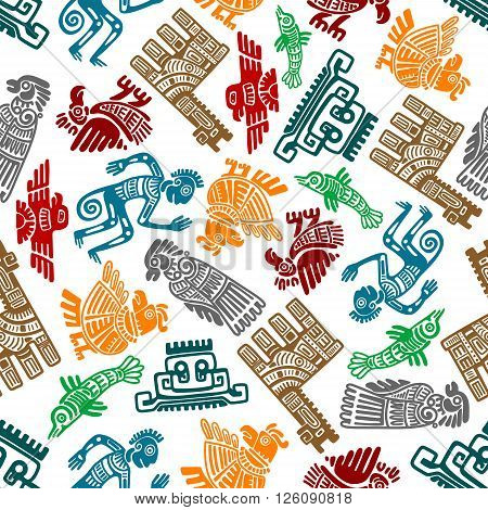 Seamless mayan and aztec totems pattern with colorful symbols of birds, idols, fish, shamans and lamas in tribal style over white background. Use as ethnic textile print or ancient culture and religion theme design