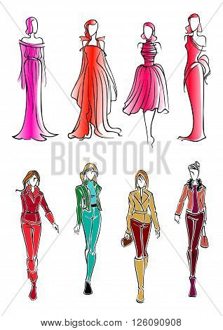 Colorful sketched silhouettes of modern fashionable girls, wearing bright everyday clothes and formal evening sleeveless dresses. Use as fashion, shopping or sale theme design