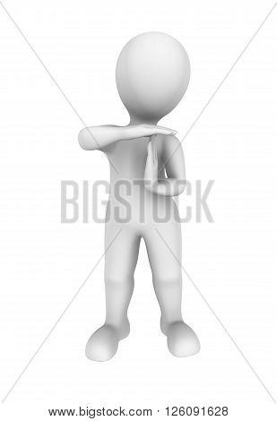 3d man shows time out gesture. 3d illustration.