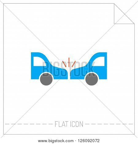Accident of car. Silhouette color icon. Vector illustration