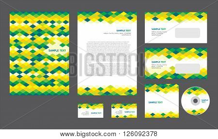 Professional corporate identity creative design brandbook blue green yellow white color business style rhomb
