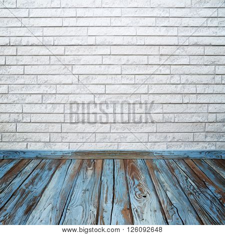 Room Interior With Brick Wall And Wood Floor