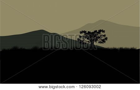 Silhouette of huge mountain with black bagrounds