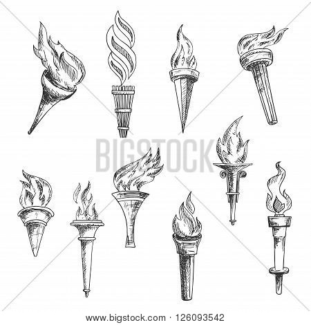Ancient wooden torches vintage engraving sketches with ornamental swirls of burning flame. May be used as sport, religion, history or lightning equipment theme design