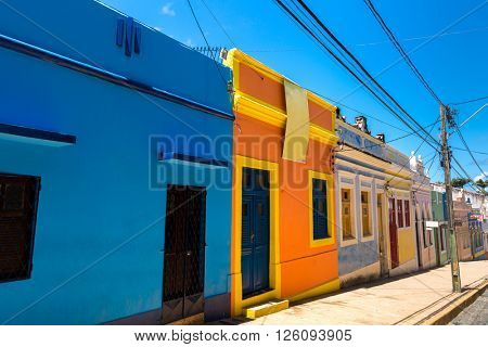 Colorful houses in Olinda, located in Pernambuco, Brazil