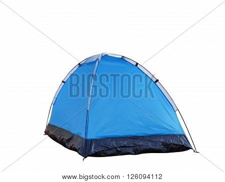 Isolated blue dome tent on white with clipping path