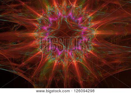 red-orange plasma fractal star on a black background