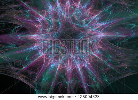 violet-blue plasma fractal star on a black background