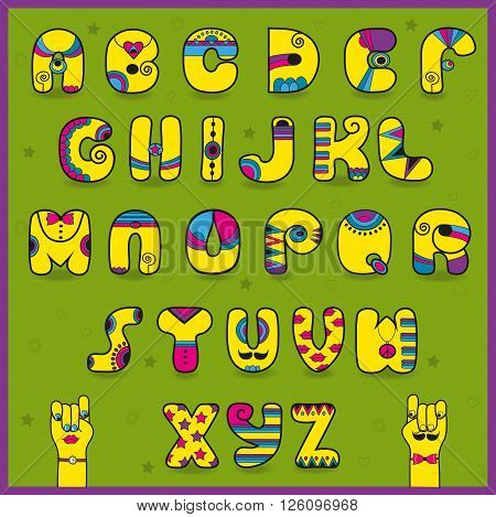Dandy Alphabet. Funny yellow pink letters. Vector Illustration